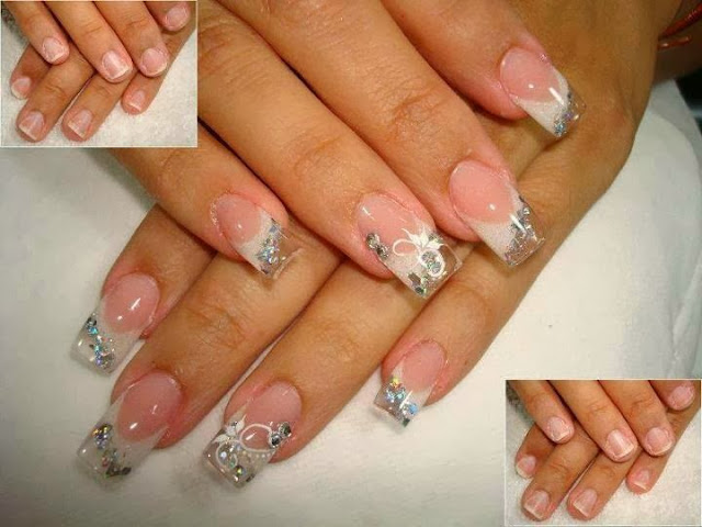 Full sculpted gels; custom white glitz; reflector silver big dot glitz and nothing but the big boy swarovski crystals gels; glitz gels acrylic paint bridal nail art design