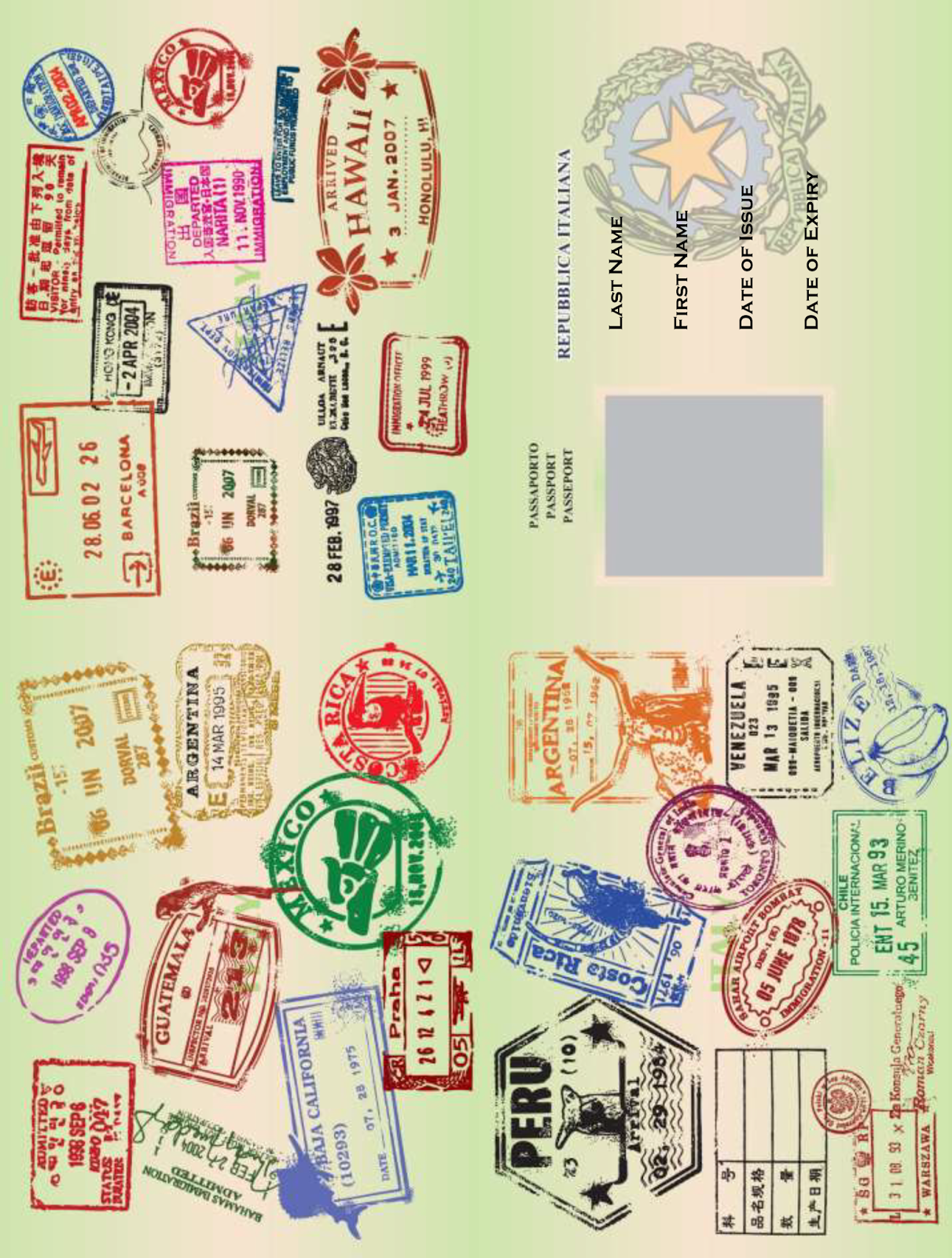Juicy image with printable passport template