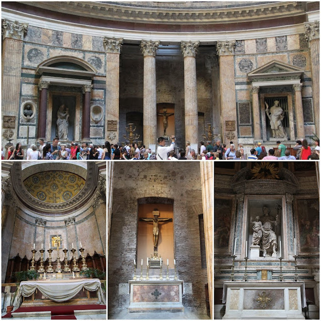 The unique interior structure of the Pantheon in Rome, Italy