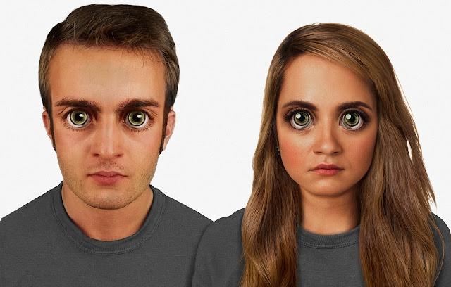 Và đây là năm 100.000. Những đặc điểm trên mặt rất khác so với năm 2015, sống mũi thẳng, đôi mắt to dữ dội. Tiêu chuẩn đẹp lúc bấy giờ là đôi mắt cực lớn, các tế bào sau võng mạc tăng lên giúp tăng khả năng quan sát trong đêm tối và con người ta có cặp mắt như mắt mèo về đêm.