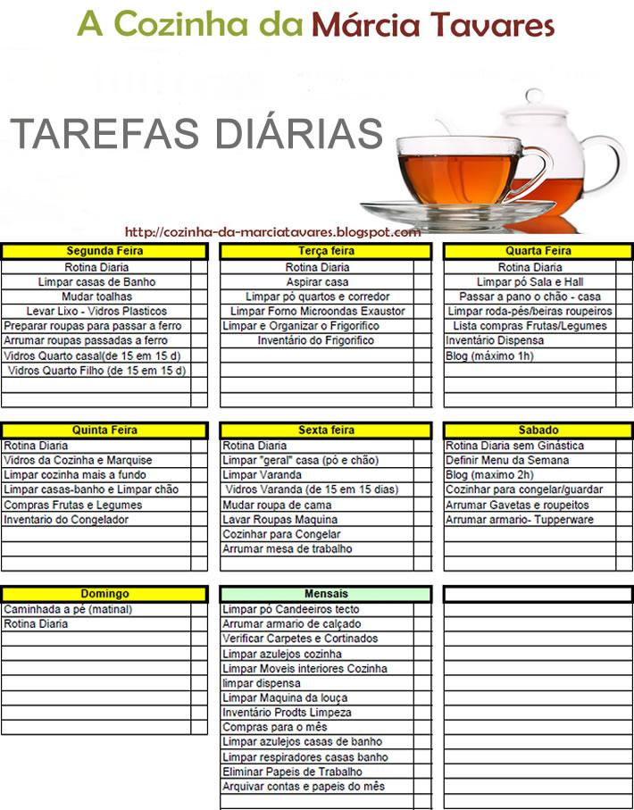 Well-known A Cozinha da Marcia Tavares: Lista de Tarefas Domesticas PD05