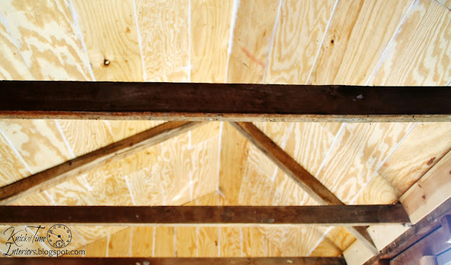 Wood Ceiling Beams Wood Plank Ceiling Guest House Remodel Repurposed Shed Guest Room via KnickofTimeInteriors.blogspot.com