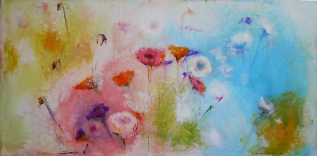 ציור אקריליק על בד פרחים