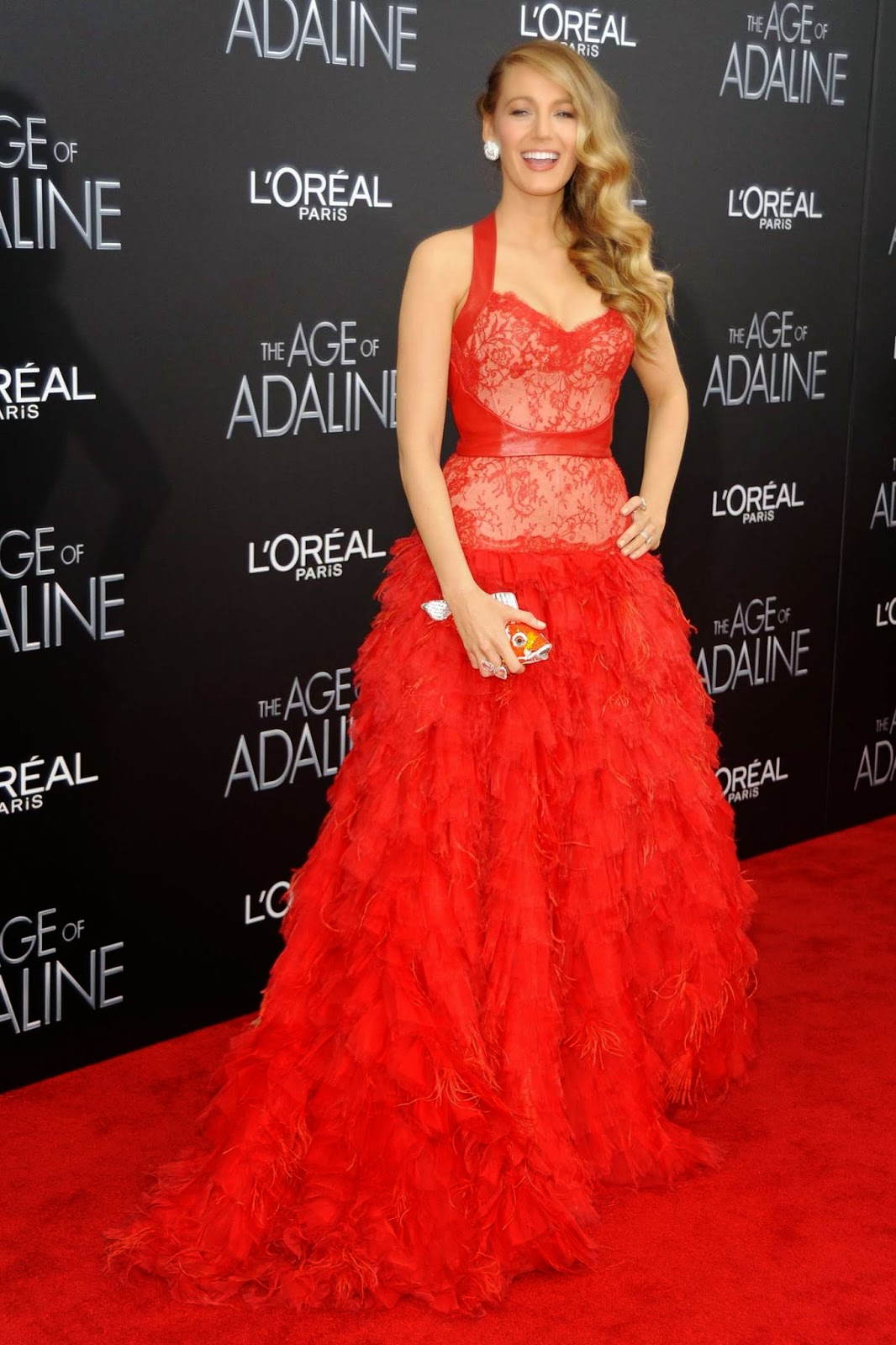 Blake Lively is gorgeous in a red gown at the 'Age of Adaline' NYC Premiere