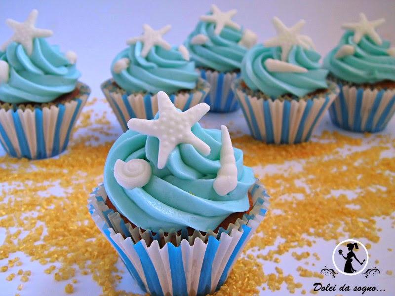 cupcake tema mare e conchiglie