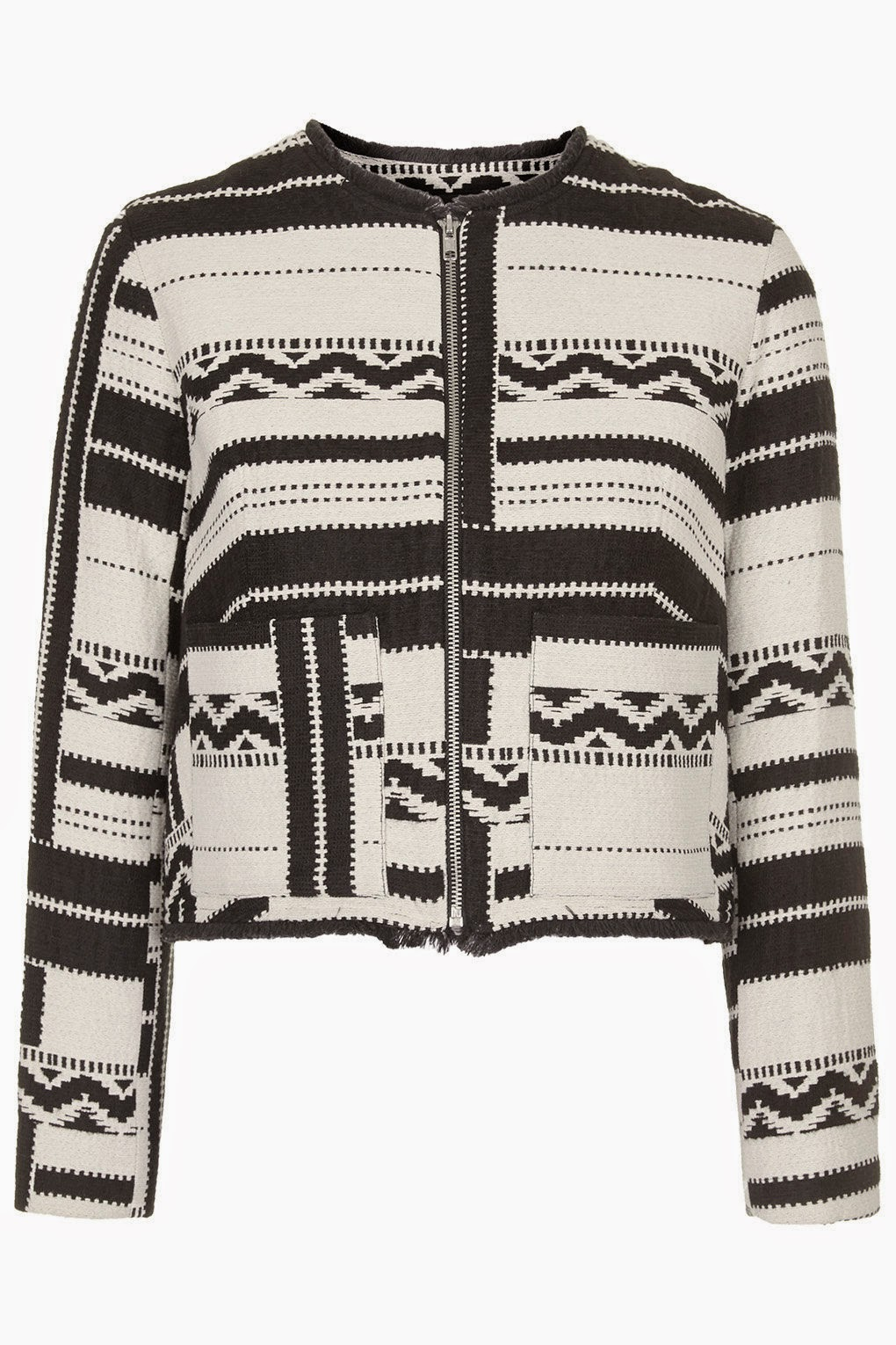 black white aztec jacket,