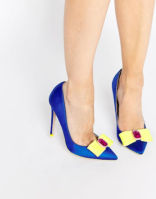 Asos blue satin pointy closed pumps with yellow bow and pink embellishment