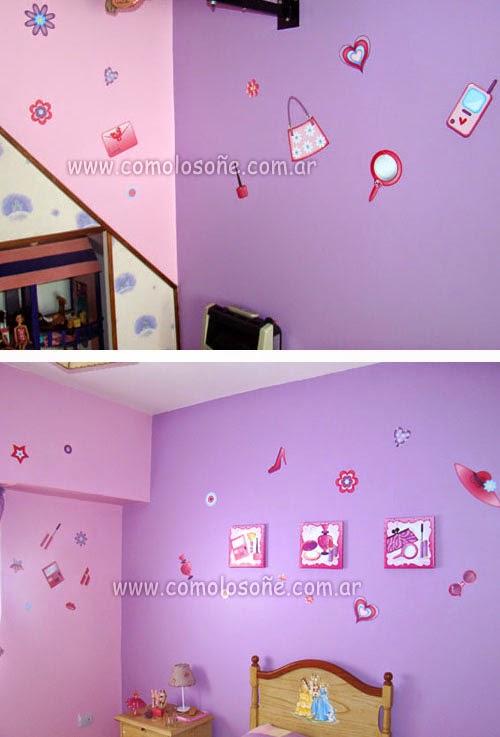paredes de color rosa claro y una pared principal color lila decorado con cuadros impresos en tela y stickers de vinilo impreso diseo fashion para nenas