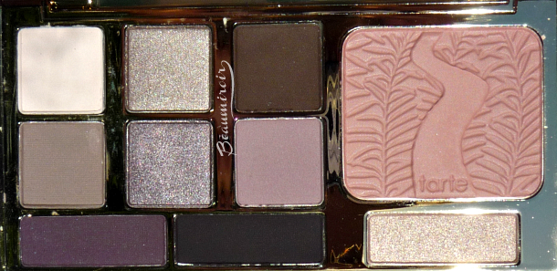 Tarte Energy Noir Clay Palette for eyes & cheeks: closeup of the eyeshadows, highlighter and blush