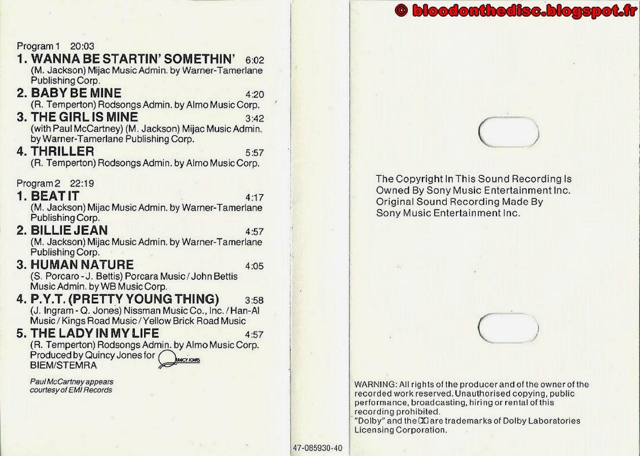 Thriller K7 Booklet