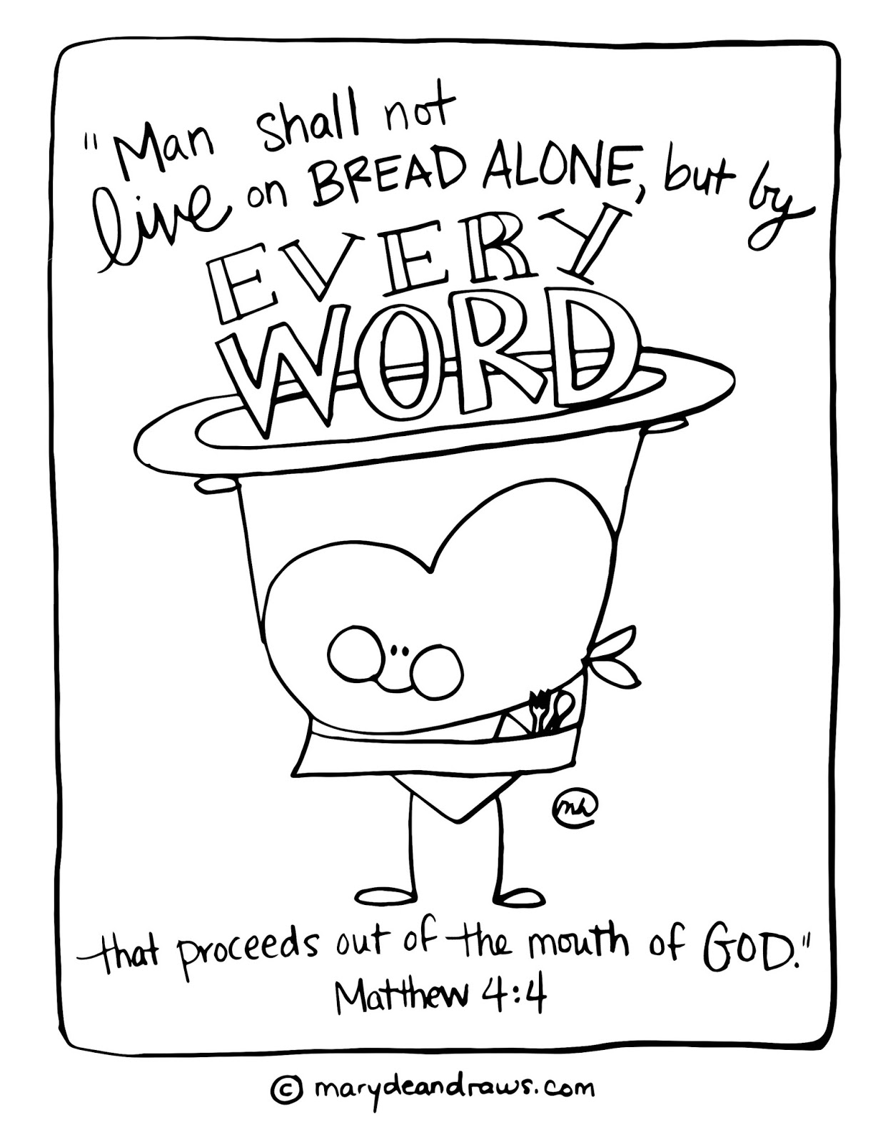 Matthew 44 Man Does Not Live On Bread Alone Printable Coloring Pages