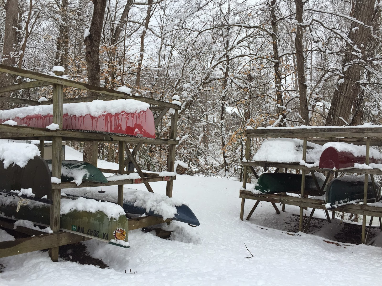 snow, winterscape, canoes, kingsmill, virginia, winter