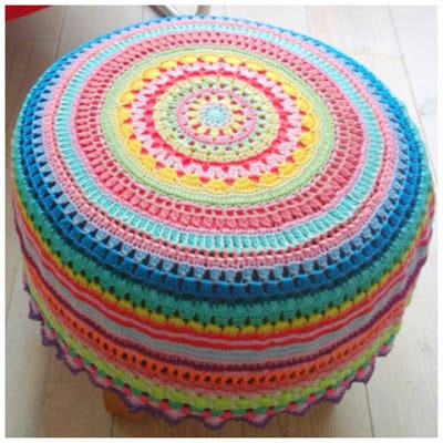 идеи для вязания, пуф
