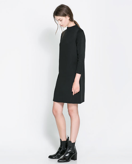 boğazlı siyah kısa elbise