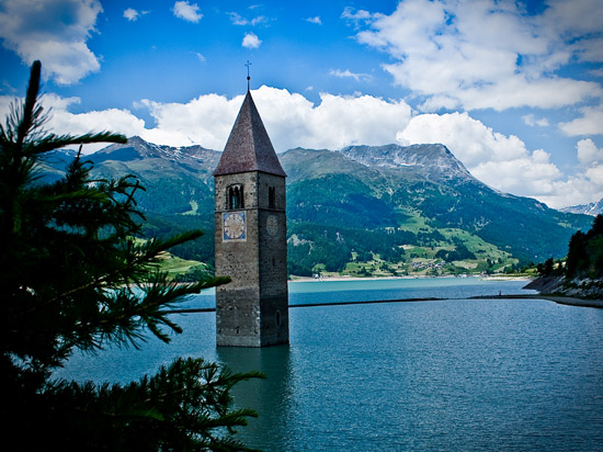 Drowned Church of Lake Reschen in Italy