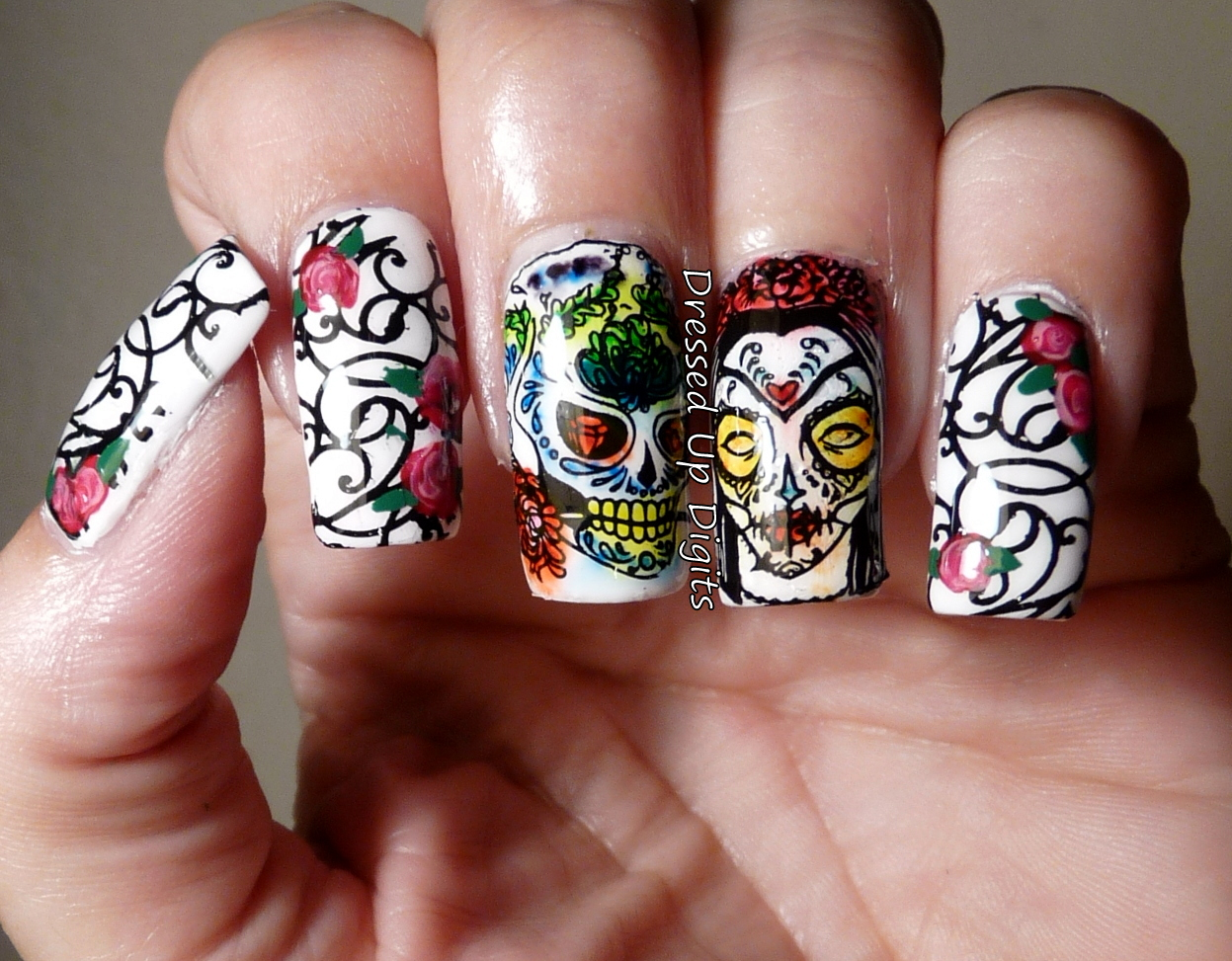 Dressed Up Digits Sugar Skull And Roses