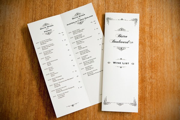 Bistro Boulevard wine list by Marika Jarv