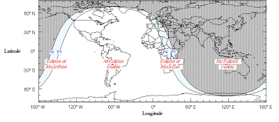 the visibility of the Lunar Eclipse in May 25 2013