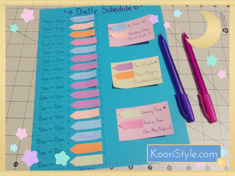 Cute Kawaii Koori Style  KooriStyle Blog Daily Blogging Working Schedule Planner Agenda Organization HowTo DIY