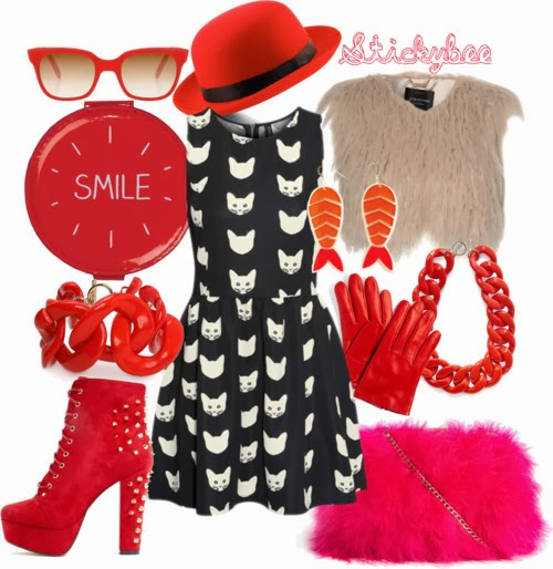 meow inspired fashion, Cat print dress wendybox.com   Jane Norman outerwear $33 - janenorman.co.uk   Red booties prettylittlething.com   ASOS seashell purse $52 - asos.com   Mango bracelet jewelry mango.com   My Secret Agent Lover Man hook earrings $43 - thegrandsocial.com.au   Red derby hat $20 - fashionunion.com   DKNY glove dkny.com   Sheriff&Cherry wayfarer glasses boutique1.com   H.E. by MANGO XL link necklace mango.com   Wild Wolf beauty accessory burkedecor.com