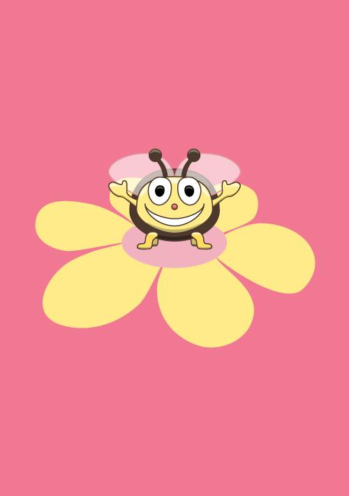 Happy cartoon bee pink kids print