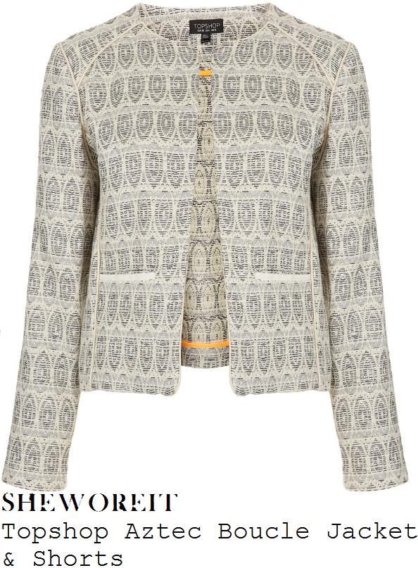 sheworeit: Helen Flanagan&39s Topshop Cream &amp Silver Aztec Pattern