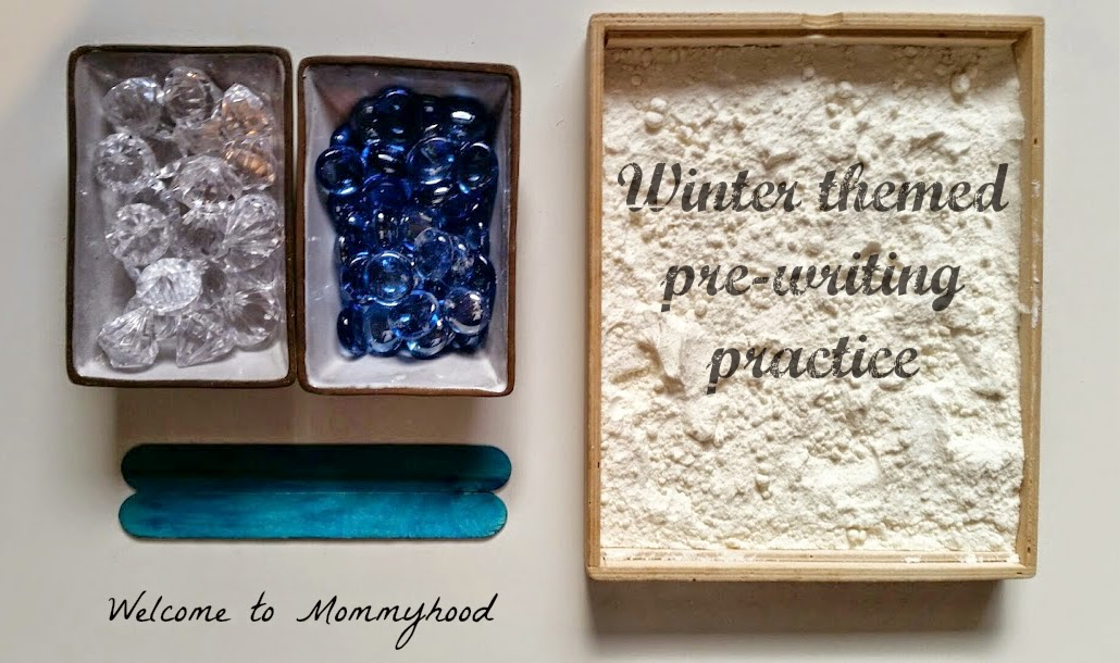 Winter activities for kids: writing and pattern making (math) practice for preschoolers {Welcome to Mommyhood} #montessori, #winteractivitiesforkids, #preschoolactivities