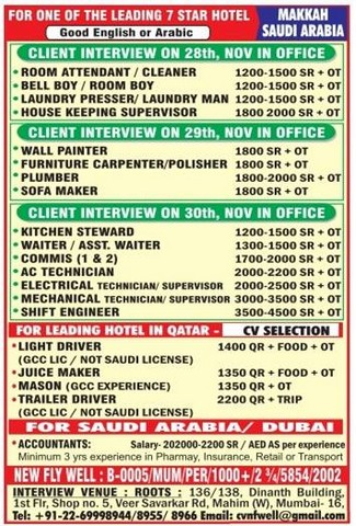 Hotel Job Vacancies For Qatar Dubai Ksa
