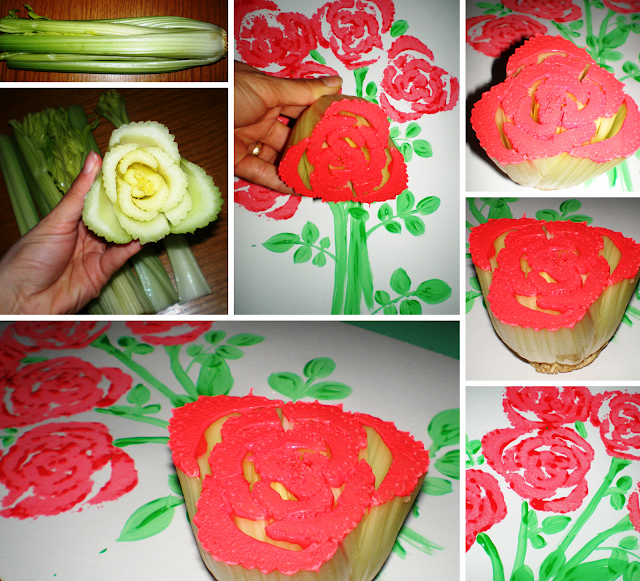 țelină apio trandafiri buchet acuarele 8 martie ziua mamei