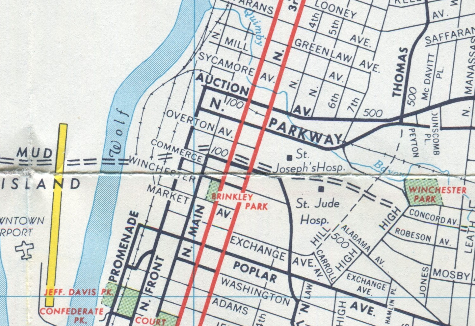 by the time this map was printed in 1964 things were changing dramatically in the neighborhood st jude hospital begun in 1962 has joined st joseph s