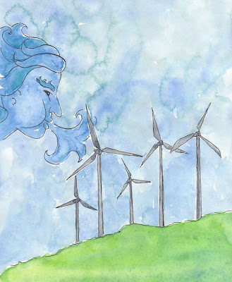 artist travel journal drawing of wind turbines being blown by north wind