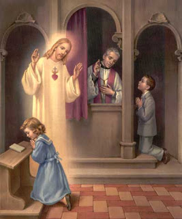 sacrament of reconciliation girl praying in Church and Jesus blessing her photo free Christian image download