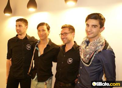 Guillaume, Jean-Philippe, Eddy et Maxime, l'équipe du Studio 54, salon de coiffure à Montpellier et les deux modèles hommes défilant pour la Chemise Française et la boutique le Détour à Montpellier.