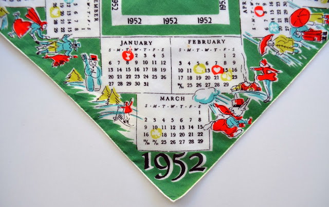 1952 Hankie, detail of January through March