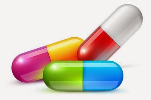 Glossy medical pills PSD template