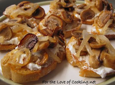 Caramelized Onion & Mushroom Crostini with Feta & Roasted Garlic Spread