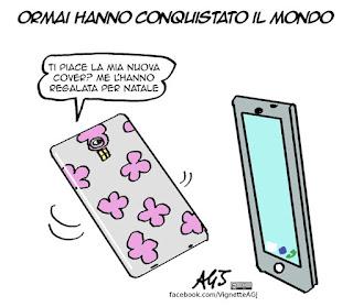 smartphone, natale, regali, umorismo, vignetta, satira sociale