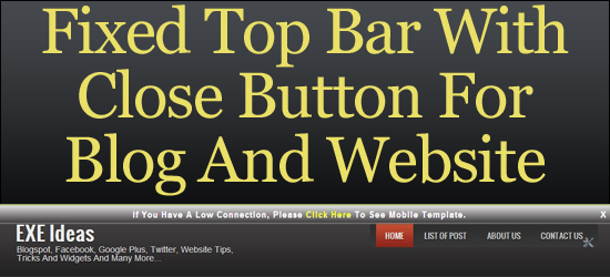 Fixed Top Bar With Close Button For Blog And Website