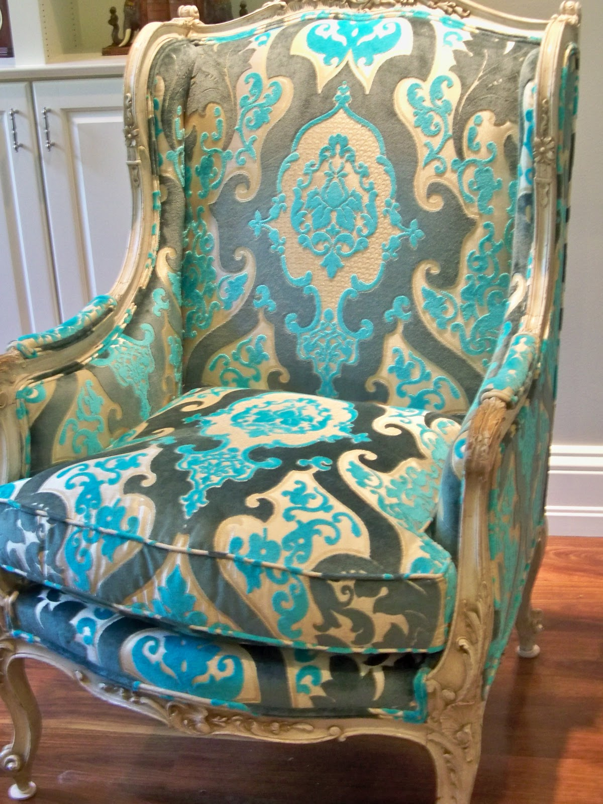 Victoria dreste designs an antique french wing chair and for Chair cloth design
