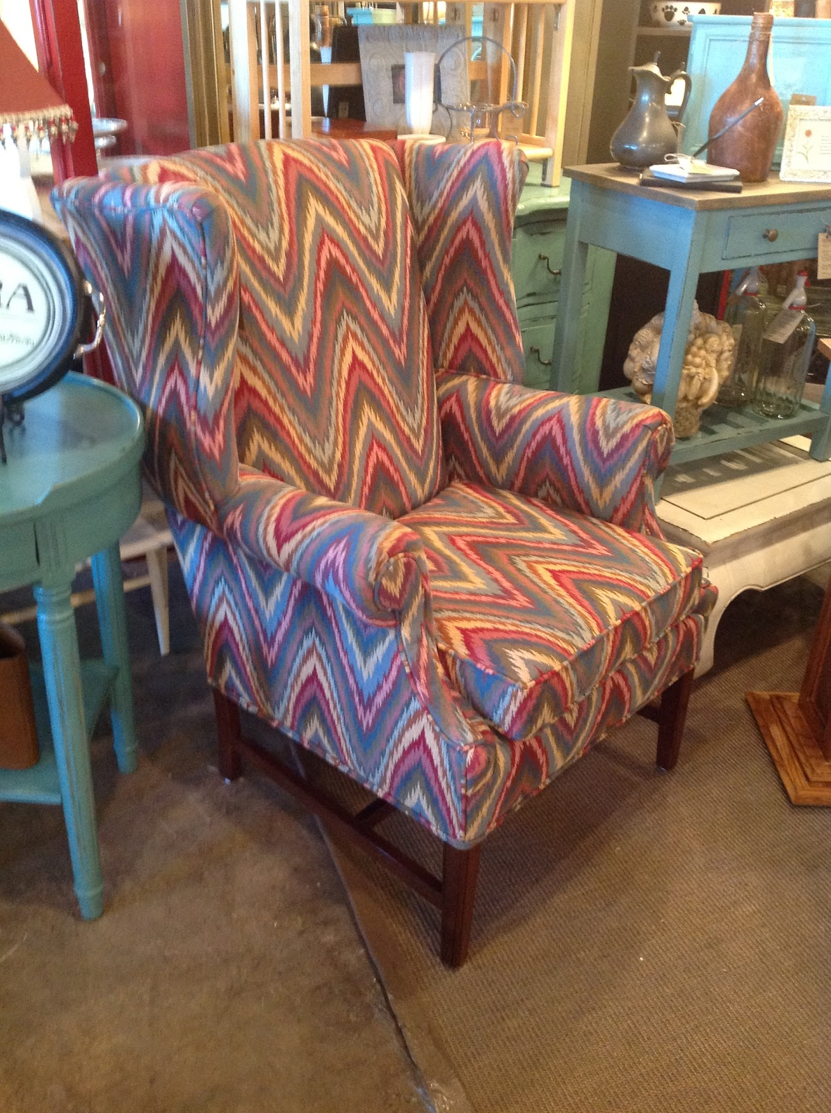 Chevron wing chairs - And If I Told You It Was Almost A Tenth Of The Price Of The Josef Wingback Chair From Anthropologie You Maybe Wondering Why I Haven T Snapped It Up Yet