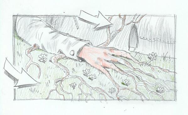 Imagen del guión gráfico de Percy Jackson y el Mar de los Monstruos. Se ve parte de un cuerpo en el suelo, y al brazo le salen raíces.