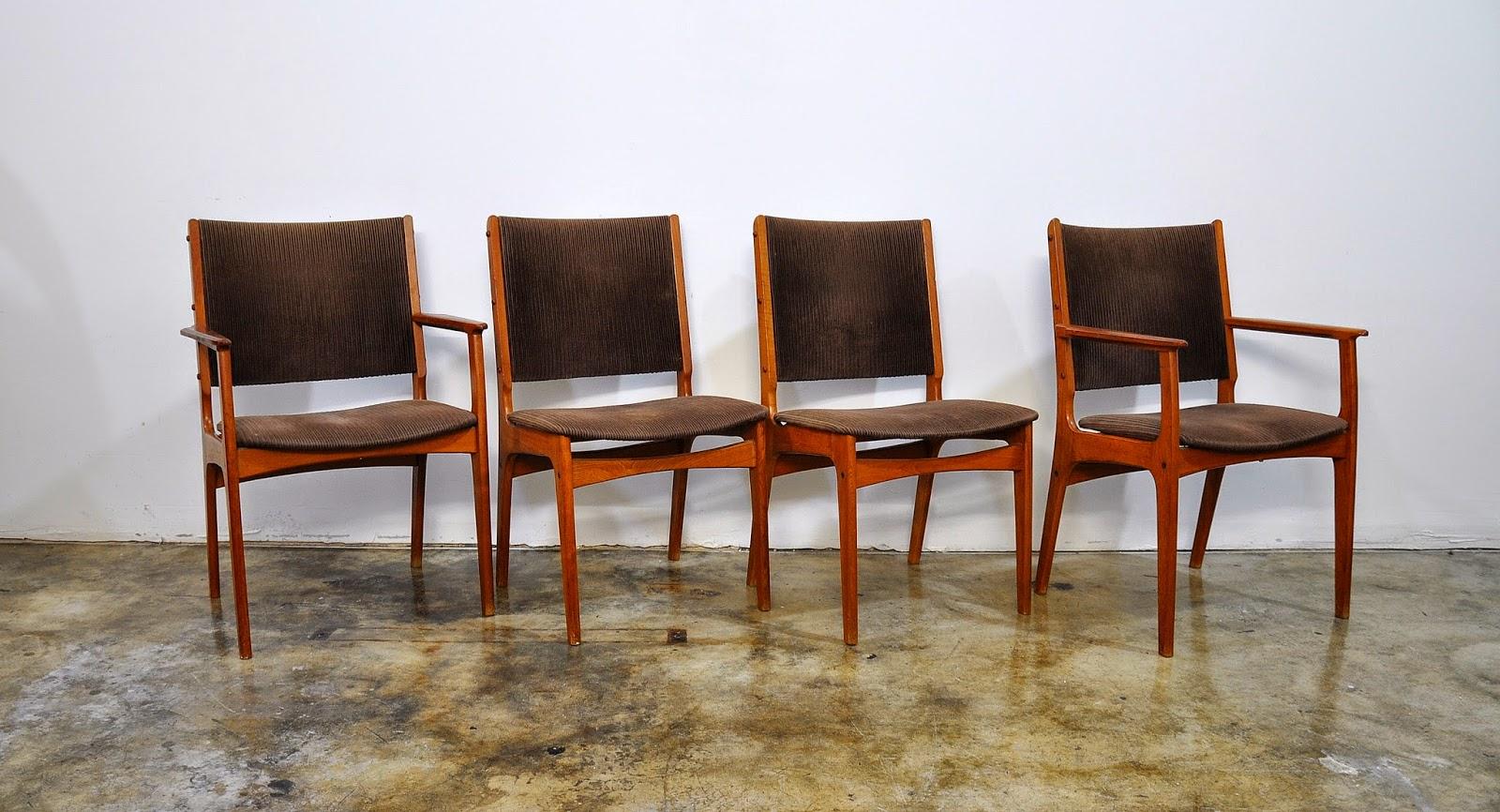 Danish Modern Teak Dining Chairs Vintage Mid Century