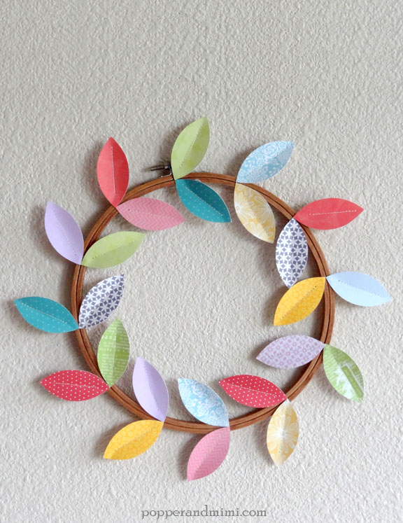 Modern Paper Leaf Embroidery Hoop Wreath | popperandmimi.com