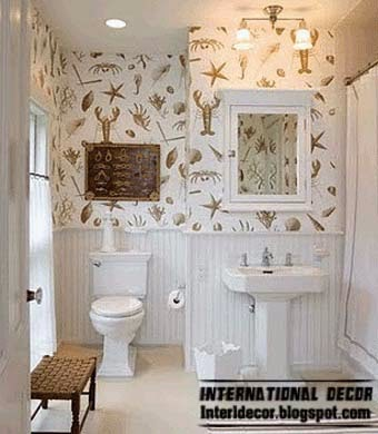Modern wallpaper for bathrooms 2014 10 basic rules for for Bathroom decorating ideas wallpaper