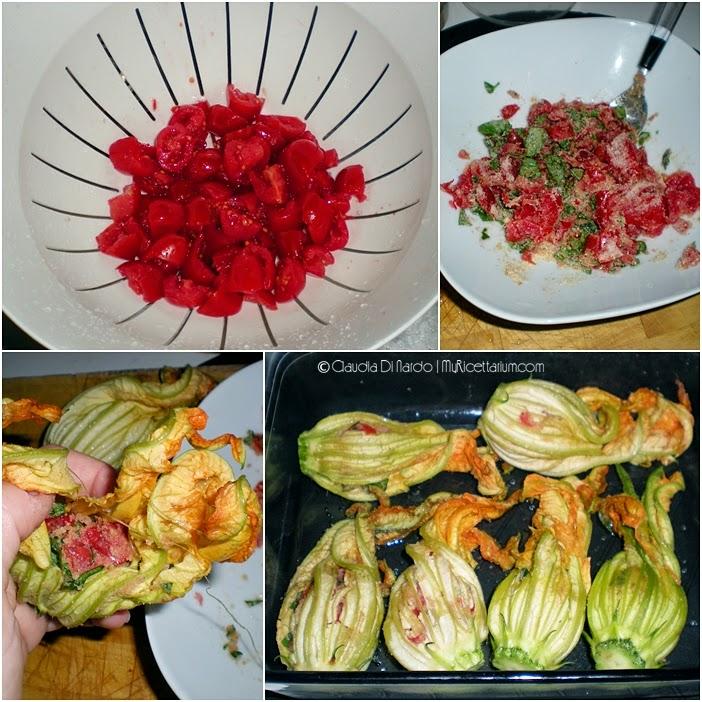 Fiori di zucca ripieni di pomodoro e basilico