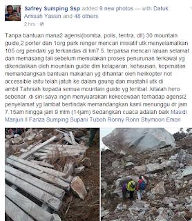 gempa bumi di ranau, gunung kinabalu, mangsa terkorban, semangat gunung, ranau sabah, gambar terkini