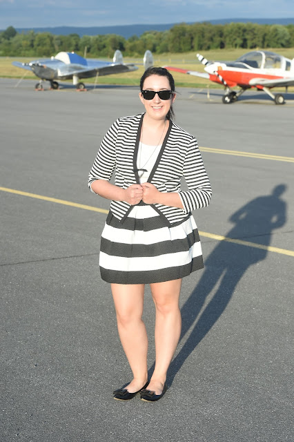 Samantha Chic, Style, stripes, blazer, striped blazer, Target, Forever 21, J. Crew, bow flats, full mini skirt, mini skirt, striped skirt, black and white, black, white, street style