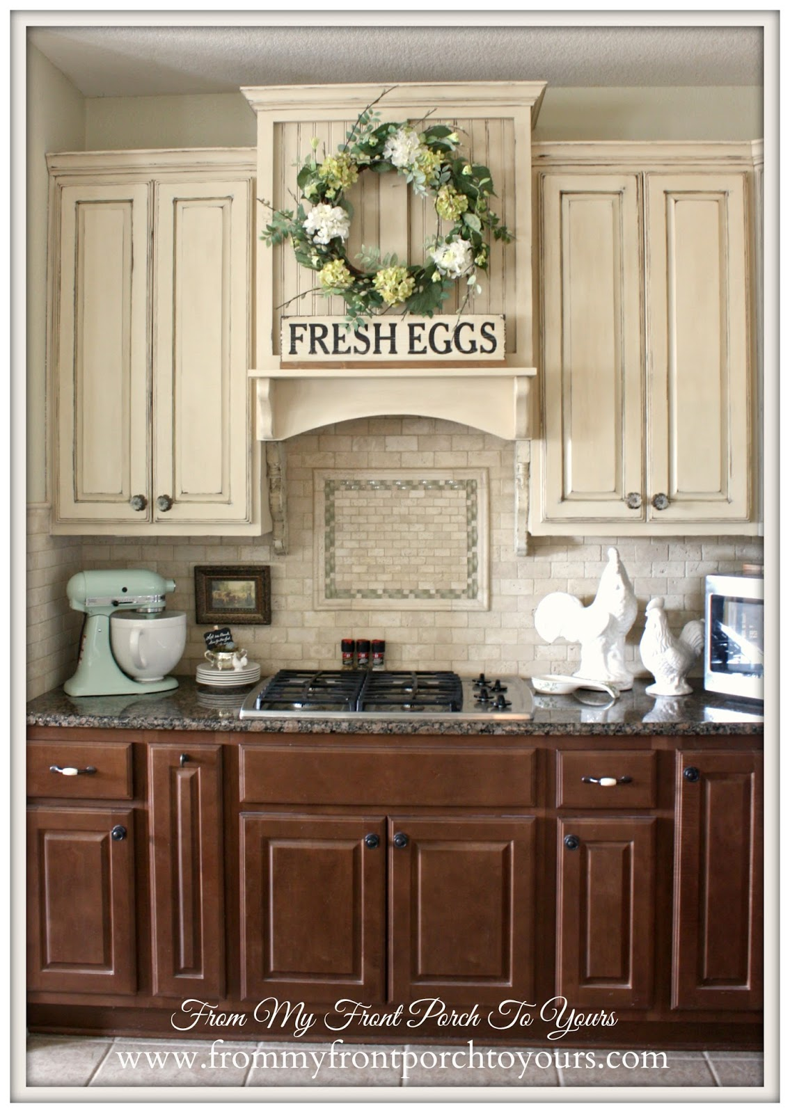 Contrasting Kitchen Cabinets-French Farmhouse Kitchen- From My Front Porch To Yours
