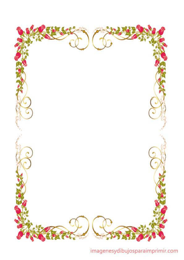 Folios con rosas para imprimir for Bordes creativos