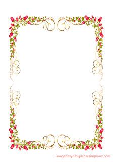 Borde con finas rosas  Folios con rosas para imprimir